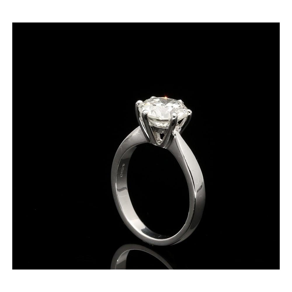 Platinum Round Brilliant Cut Diamond Solitaire Ring 264ct
