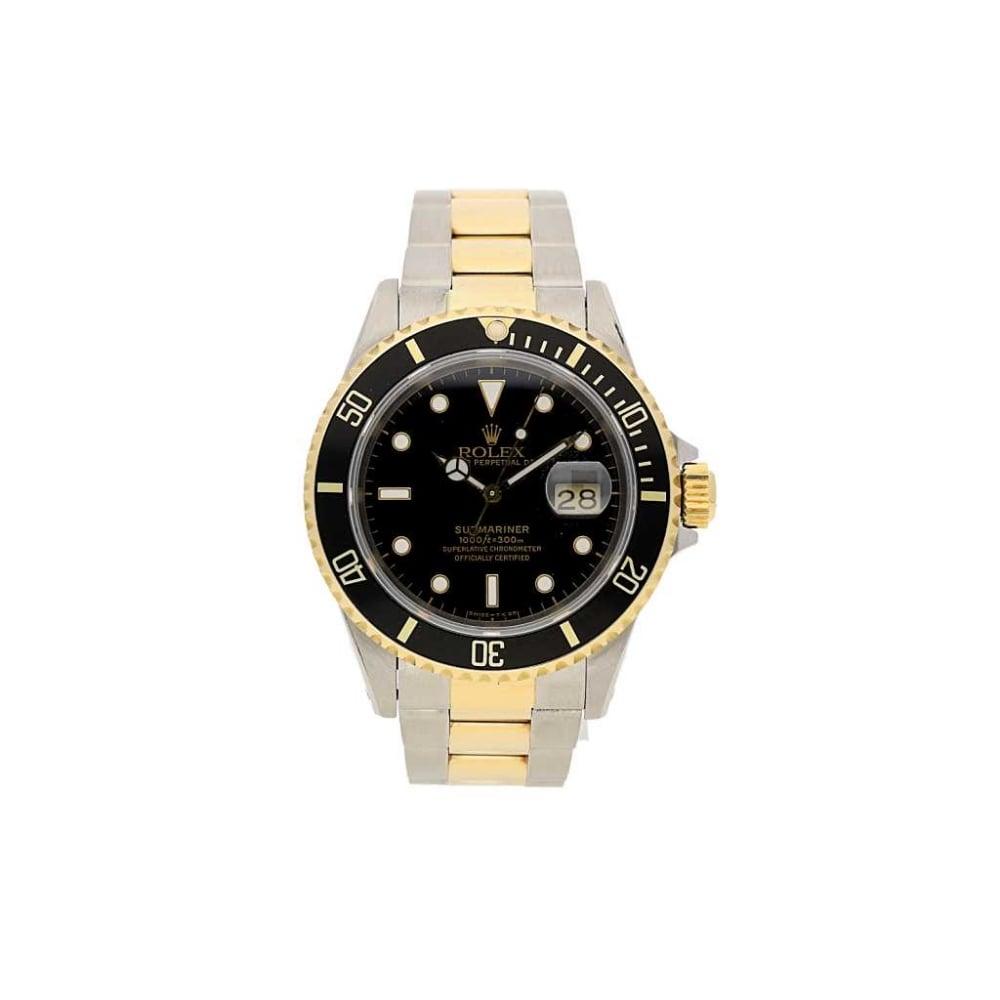 Rolex Submariner Watch - 16613 - Steel and Gold - Black