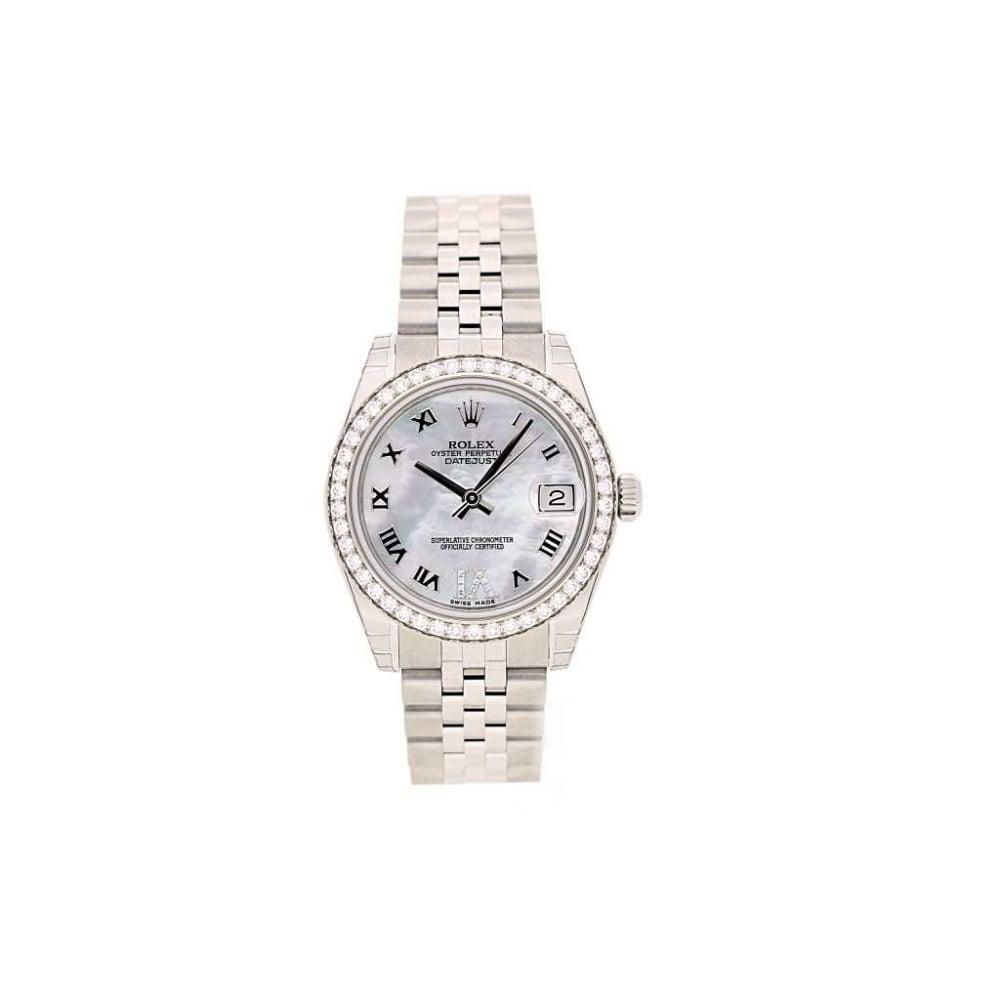unworn rolex datejust 31mm 178384 diamond bezel watch