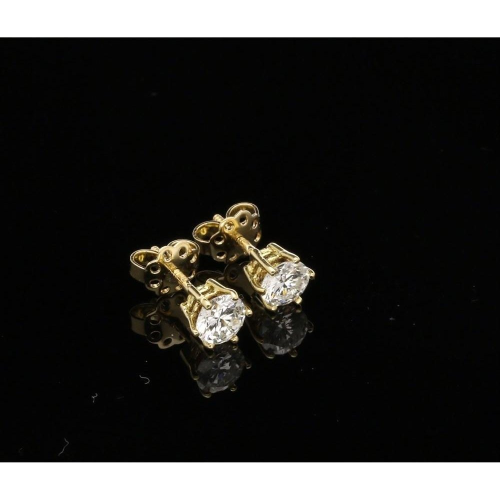 Round Brilliant Cut Diamond Stud Earrings 1 42ct
