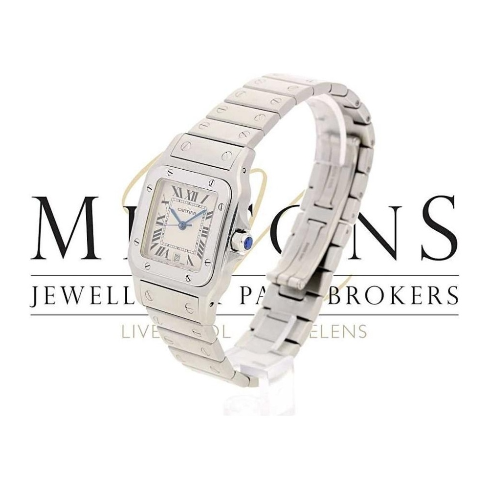 second hand cartier santos 1564 quartz watch miltons diamonds. Black Bedroom Furniture Sets. Home Design Ideas