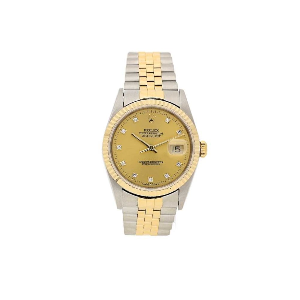 second hand gents rolex datejust 16233 champagne diamond dial 1994. Black Bedroom Furniture Sets. Home Design Ideas