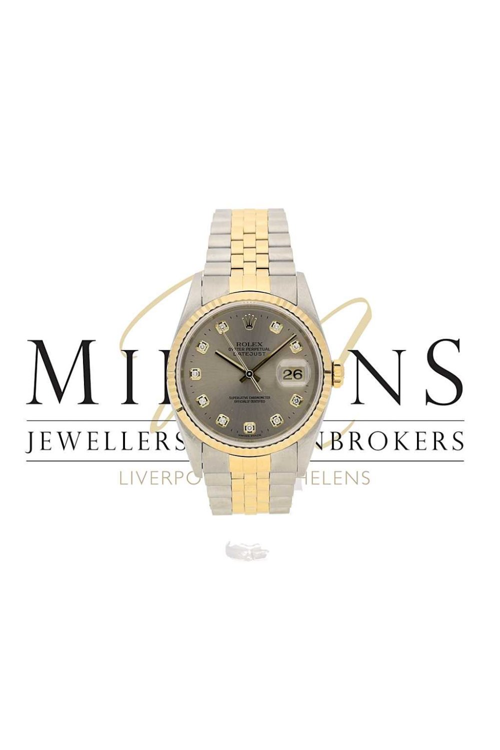 second hand gents rolex datejust 16233 available from miltons. Black Bedroom Furniture Sets. Home Design Ideas