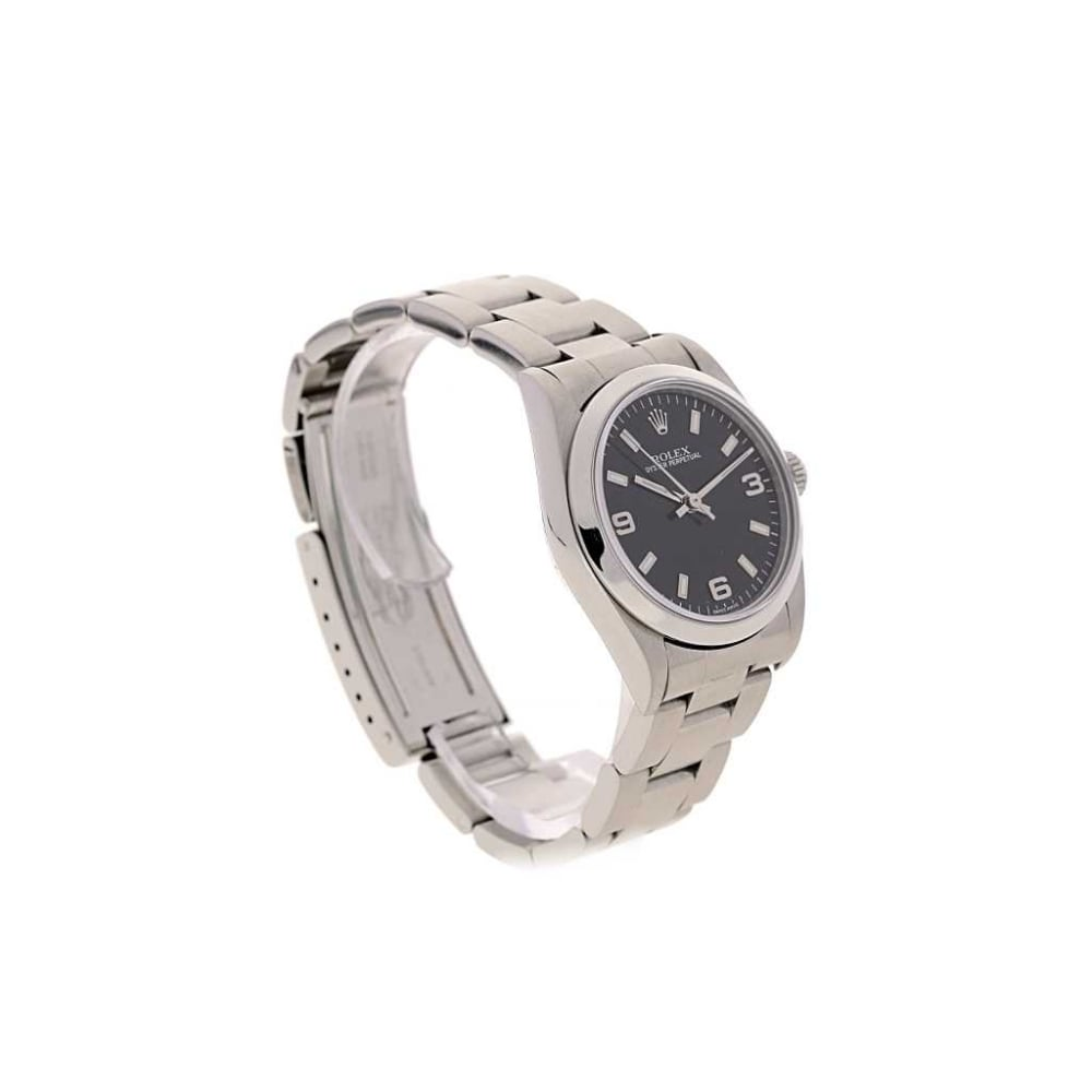 second hand rolex oyster perpetual 77080 black dial 2003. Black Bedroom Furniture Sets. Home Design Ideas