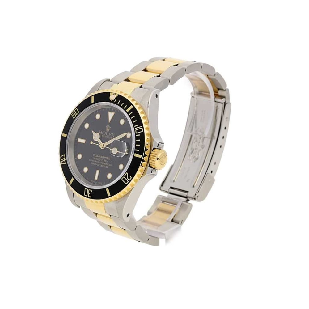 Rolex submariner watch 16613 steel and gold black 1995 for Submarine watches