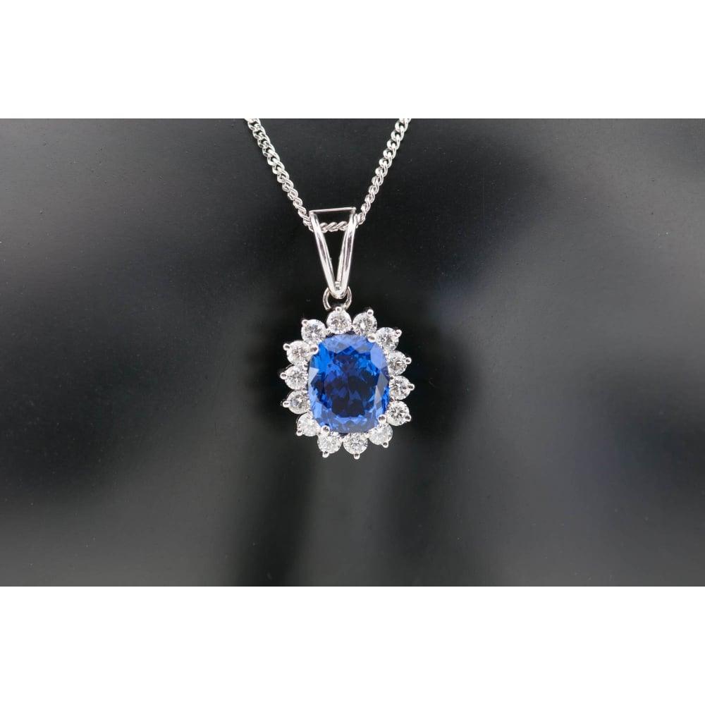 Tanzanite diamond cluster pendant chain 18ct white gold tanzanite amp diamond cluster pendant amp mozeypictures Images