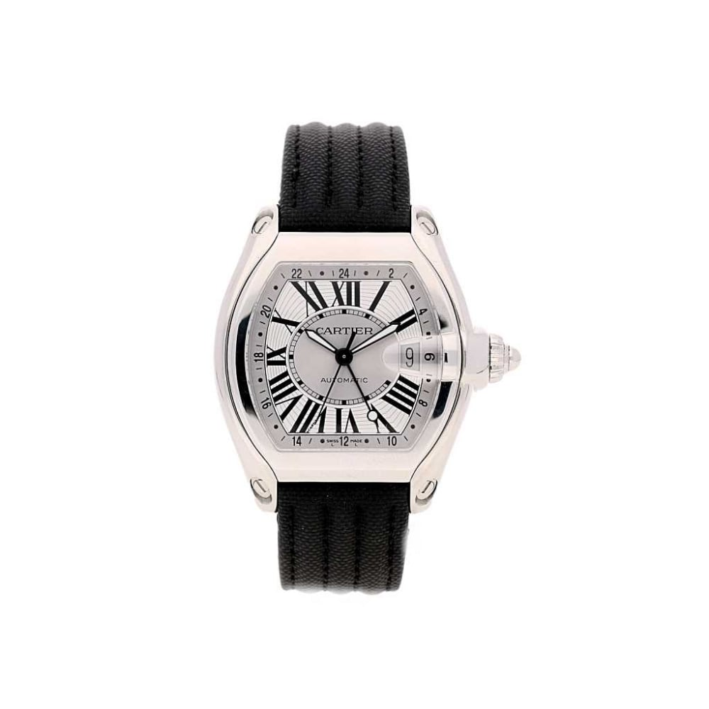 Unworn 2015 Cartier Roadster GMT - Fabric Strap - Silver Dial W5310036 8e0120937a