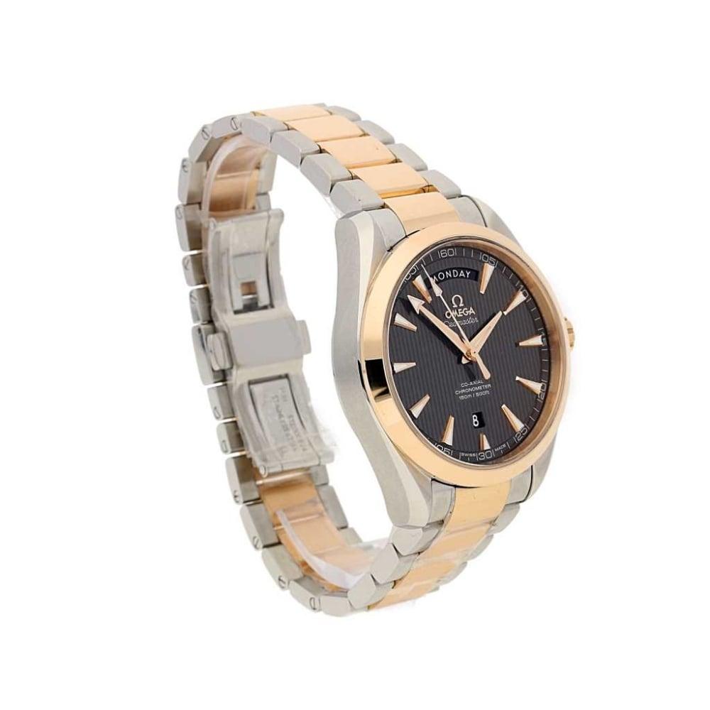Unworn omega seamaster aqua terra day date steel and rose gold for Aqua marine watches