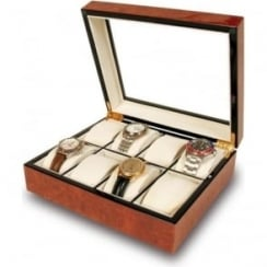 Venice Burr Walnut 8 Watch Presentation Box
