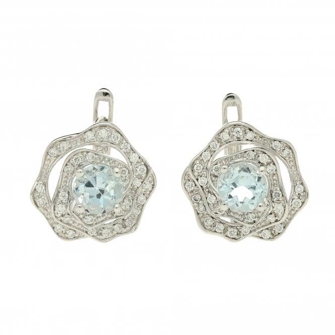 White Gold Blue Topaz & Diamond Earrings